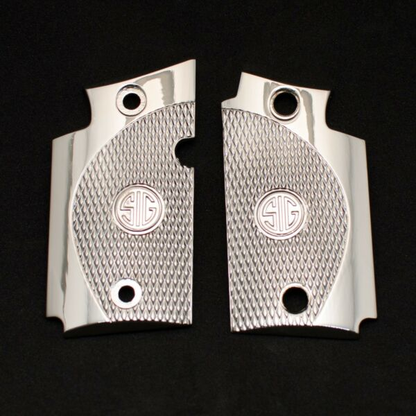 Exclusive LUXURY For Sig Sauer P938 Custom PEWTER Checkered Grips Shiny Nickel $40.50