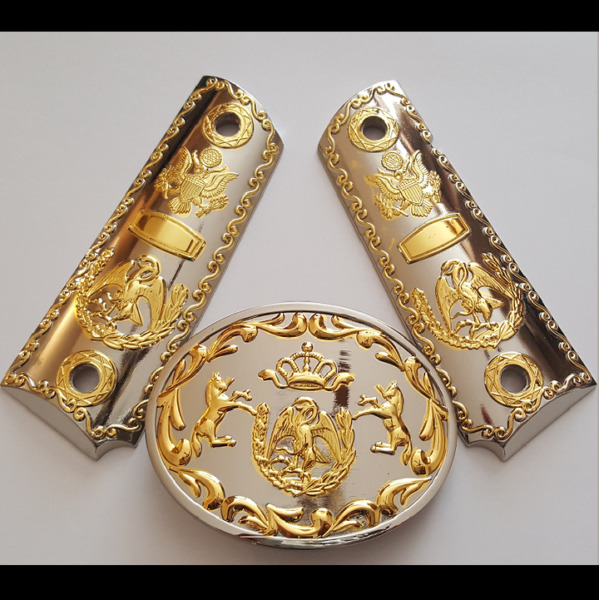 Luxury For 1911 Grips With Buckle Government 45 Colt Gold Plated Screws Included $89.10