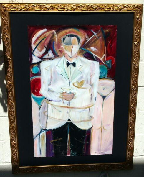 MAN IN TUXEDO WITH MARTINI GLASS LARGE BY:R.LOWTER COLLINS GILT WOOD FRAME