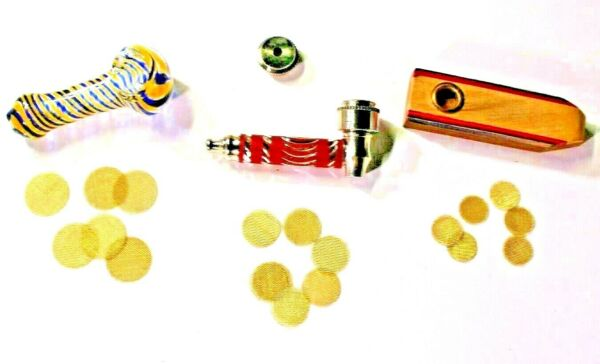 One Glass One Metal and One Wood pipew 10 Brass Screens 3 Piece Set USVet $9.95