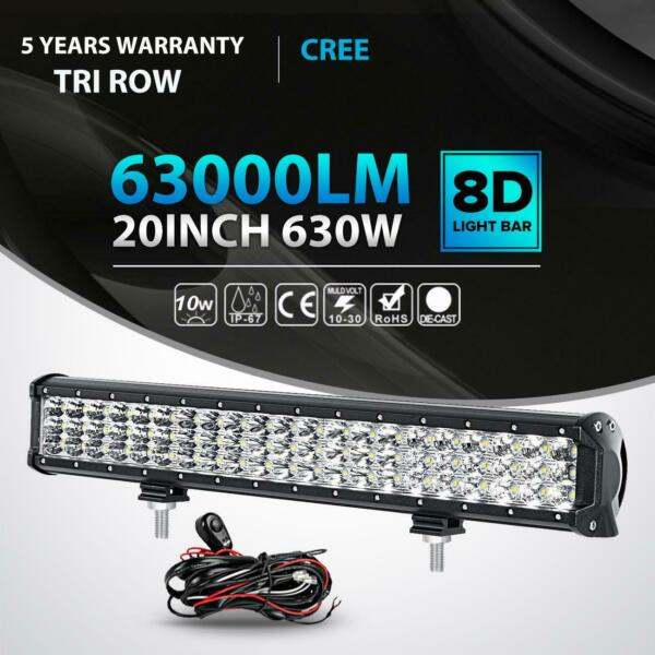 Tri Row 20quot; Inch 630W Led Work Light Bar Combo Offroad Truck Boat UTE ATV UTV 23