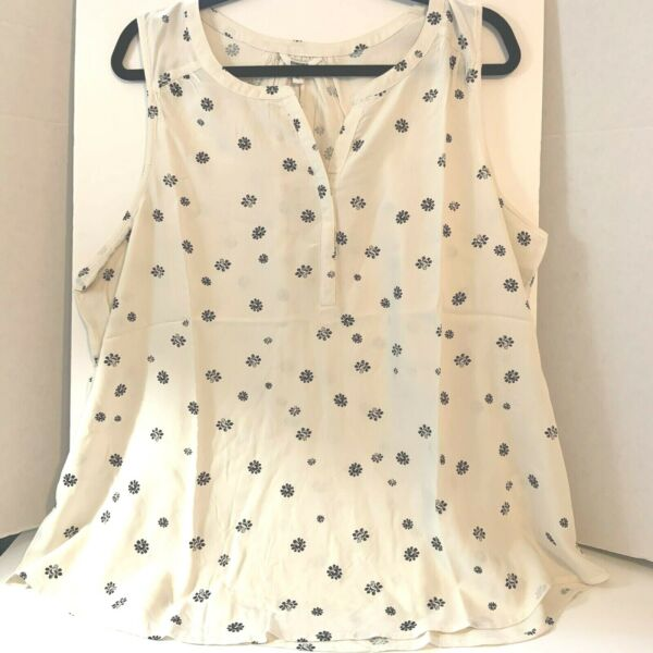 Sonoma Womens Tank Top XL White Print Split Neck Sleeveless New