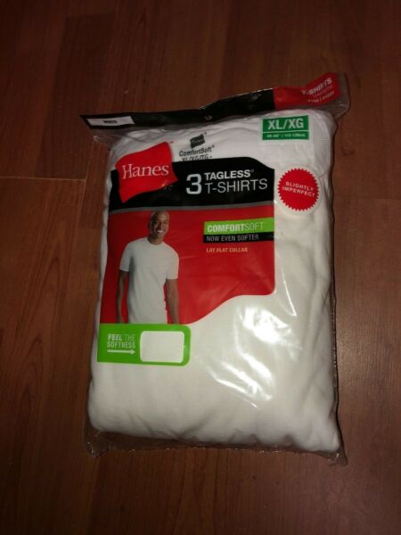 Hanes Mens 3 pack White T Shirt UnderShirt Crew Neck Size S-3XL 100% Cotton!