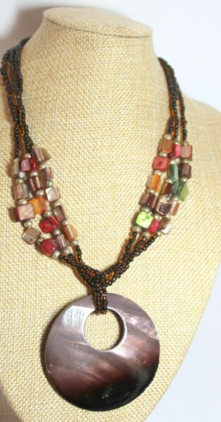 Vintage Mother of Pearl Disk Large Shell Pendant Necklace Hearth color gift lady