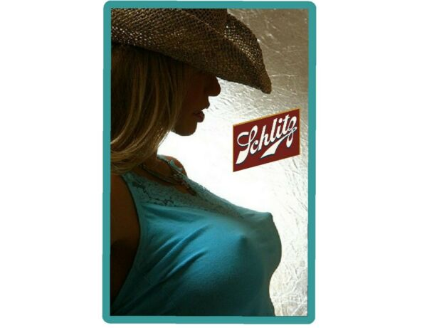 Schlitz Beer Cowgirl In Blue Top Refrigerator Tool Box Magnet