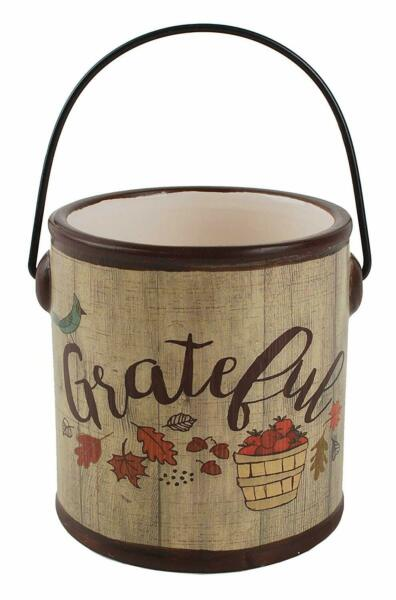Blossom Bucket Fall Decor Grateful Ceramic Crock Bucket with Handle Home Accent