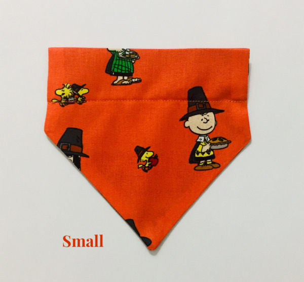 Peanuts Snoopy Thanksgiving Pie Over Collar Slide On Pet Dog Cat Bandana Scarf $7.50