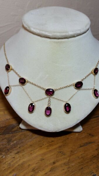 Amethyst  seed pearl antique gold victorian Edwardian Festoon necklace