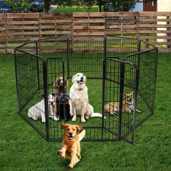 6 Panel Heavy Duty Metal Dog Cage Playpen Pet Exercise Pen Fence Play Kennel Hot