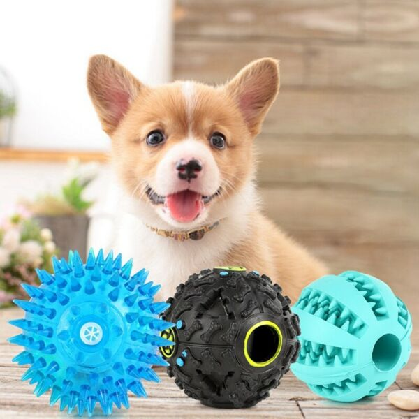 3Pcs Chew Toys for Pet Large Dogs Indestructible Rubber Ball Food Dispenser