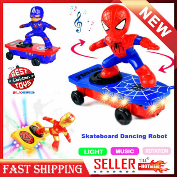 Toys For Kids Skateboard Automatic Rotated Dance Spider-Man Robot Light Toy Gift