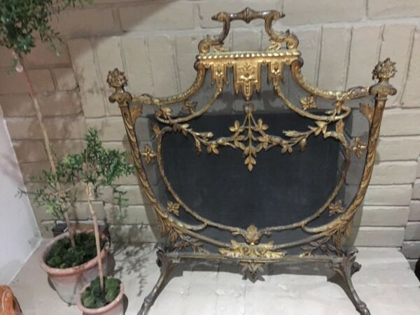 Fireplace Screen Heavy Brass Antique Gold Bought in Venice Italy 1940's