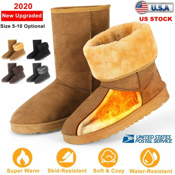 2019 Winter Women Shoes Snow Boots Fur-lined Slip On Warm Ankle Shoes Waterproof