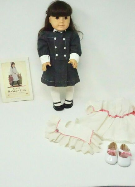 American Girl Doll Pleasant Company Samantha in School Dress with Extras