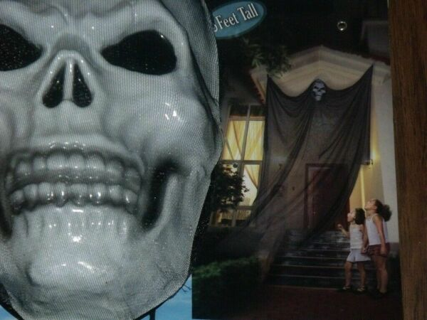 HALLOWEEN OUTDOOR HAUNTED HOUSE HANGING FLOATING REAPER SKULL PROP DECORATION 6'
