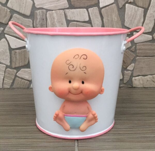 Metal Pail Bucket Favor Boxes 5-Inch  Baby Girl Shower  Pink