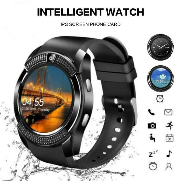 2019 V8 Smart Bluetooth Watch Touchscreen Fitness Tracker Wrist for iOSAndroid
