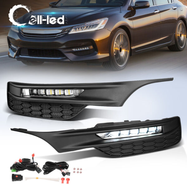 for 2016 2017 Honda Accord Sedan LED Fog Lights Bumper Lamps+Wiring+Switch Pair