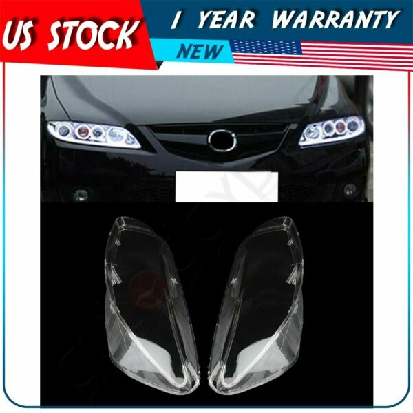 Pair Headlamp Cover Headlight Lens For 2003-2008 Mazda 6 Front Left Right