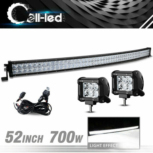 52inch 700W Curved LED Light Bar Offroad+ Wiring+ 2X 4inch 24W Cree Pod Lights