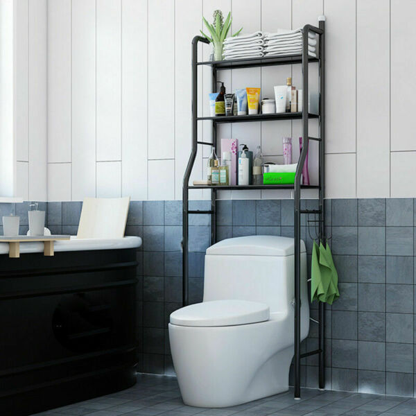 3 Tiers Shelf Over The Toilet Bathroom Space Saver Towel Storage Rack Organizer