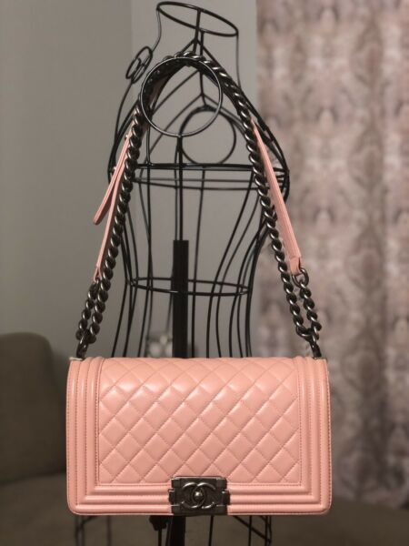 CHANEL Pink Medium Le Boy Bag Purse Ruthenium HDW