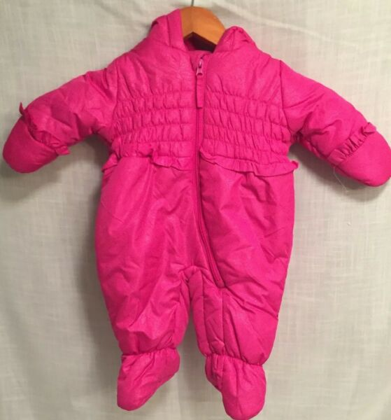 Rothschild snowsuit bunting infant baby girl 3 6 mo pink magenta One Pc smocked