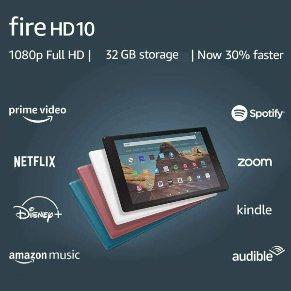 NEW Amazon Fire HD 10 Tablet 32 GB 9th Gen Black White Blue Plum COLORS