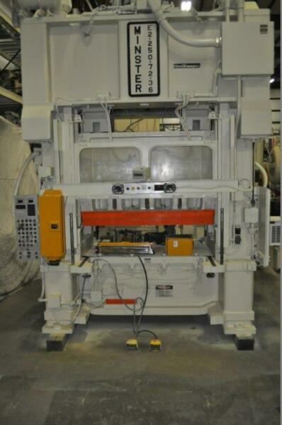 250 TON MINSTER SSDC PRESS 8″ STROKE 6″ POWERED RAM ADJUSTMENT 21″ SHUT HEIGHT 0