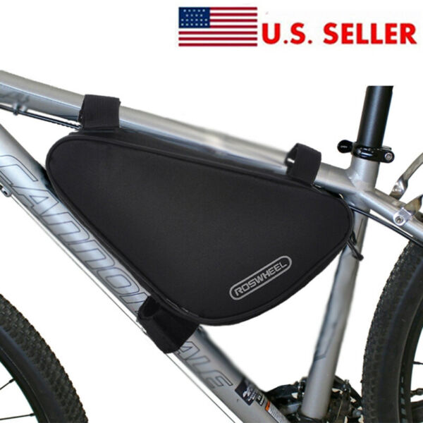 Black Mountain Bike Storage Pouch Cycling Bicycle Frame Front Tube Triangle Bag $13.59
