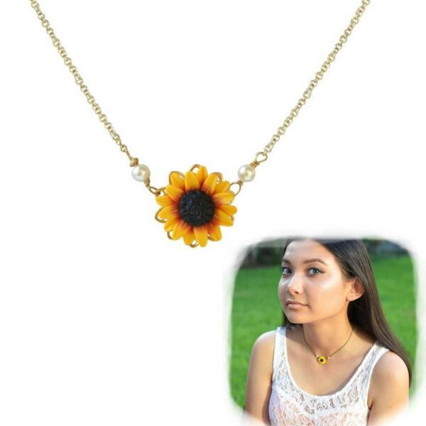 Princess Jewelry Sunflower Necklace Gold Plated Pearls Flower Pendant Chain