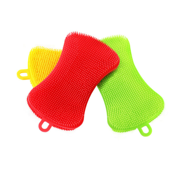 3 Pack Silicone Dish Sponge Kitchen Silicone Scrubber Washing Gadgets Tool Brush
