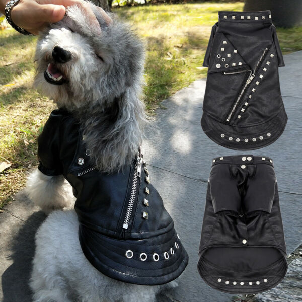 Cool Dog Leather Jacket Coat Warm Winter Cat Puppy Outfit French Bulldog Clothes $15.99
