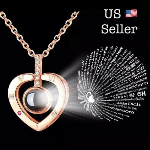 I LOVE YOU in 100 Languages Light Projection Heart Necklace Girlfriend