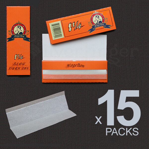 ROLLING PAPERS 15 PACKS 1.25 1¼ 77x45 mm 32 Leaves Cigarette Paper THEY ROCK