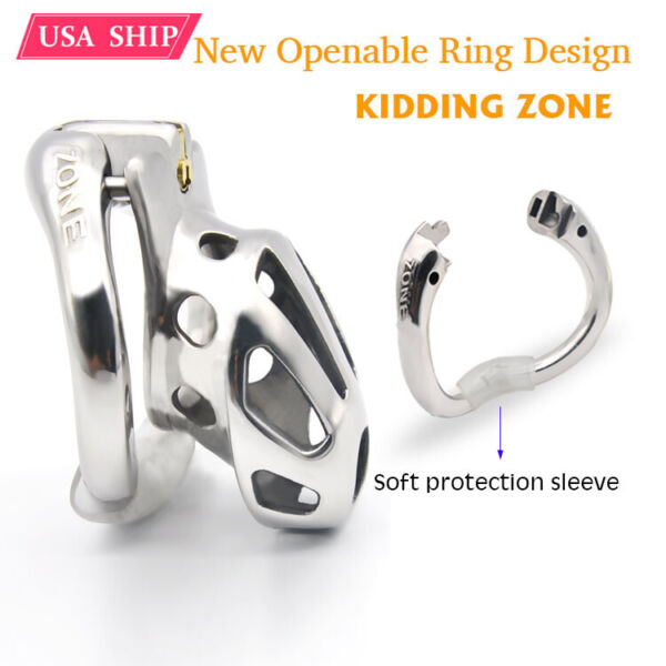 New Stainless Steel Openable Ring Design Male Chastity Device Vent Hole Cage