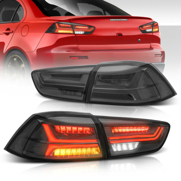 2x Smoked LED Tail Lights Rear Lamps For 08-17 Mitsubishi Lancer EVO LH+RH Side
