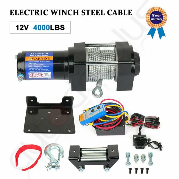 12V 4000LBS Electric Winch Towing Trailer Steel Cable Off Road w wireless remote $90.89