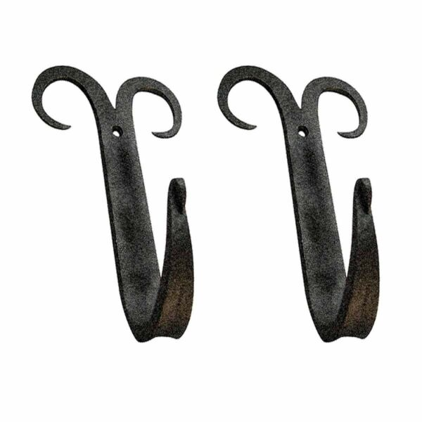 2 Coat Hat Robe Hook Wrought Iron Black Scroll 5