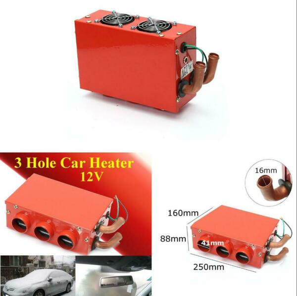 3 Hole 12V Universal Car Heater Defroster Demister Truck Heating Fan w Switch