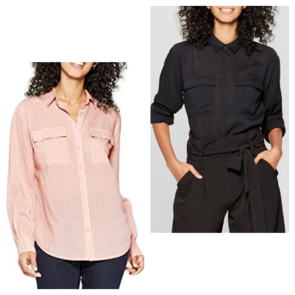 A New Day Women's Long Sleeve Button Down Utility Shirt 545757 ~ Black or Blush $9.99
