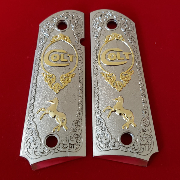 Luxury For COLT 1911 38 45 FULL SIZE GRIPS AMBI COLT RAMPANT Nickel Gold $65.00