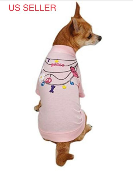 Dog Pets Necklace Tee T Shirts Cute Shirts in Pink Size X Small $8.99