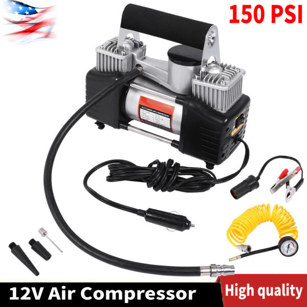 12V 150 PSI Heavy Duty Cylinder Air Pump Compressor Car Auto Tire Tyre Inflator