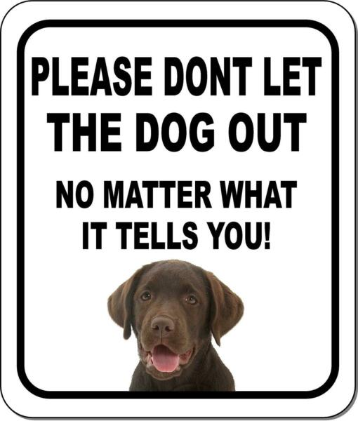 PLEASE DONT LET THE DOG OUT Chocolate Lab Metal Aluminum Composite Sign $9.99