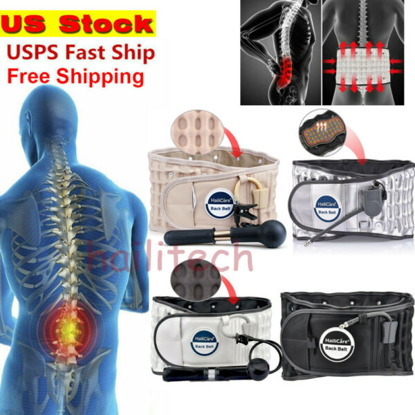 HailiCare Back Brace Belt Lumbar Support Extender Spinal Air Traction PainRelief