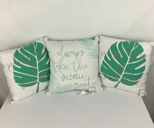 Set of 3 Throw Pillows Green White New Palm Trees amp; Sunsets