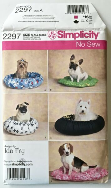 SIMPLICITY DOG PATTERN UNCUT 2297 DOG BEDS IN TWO STYLES NEW $6.45