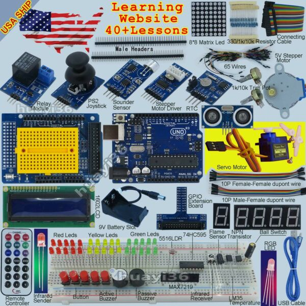 EPAL Ultimate Starter Kit for Arduino UNO R3 LCD Compass Gyro Processing USA.
