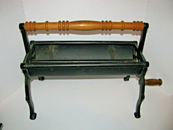 Vintage Paper Log Roller Wood Handle Cast Iron Newspaper Recycle Fireplace Tool
